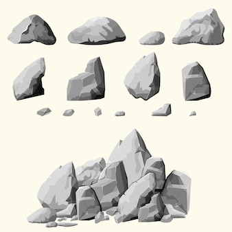 灰色の石セット