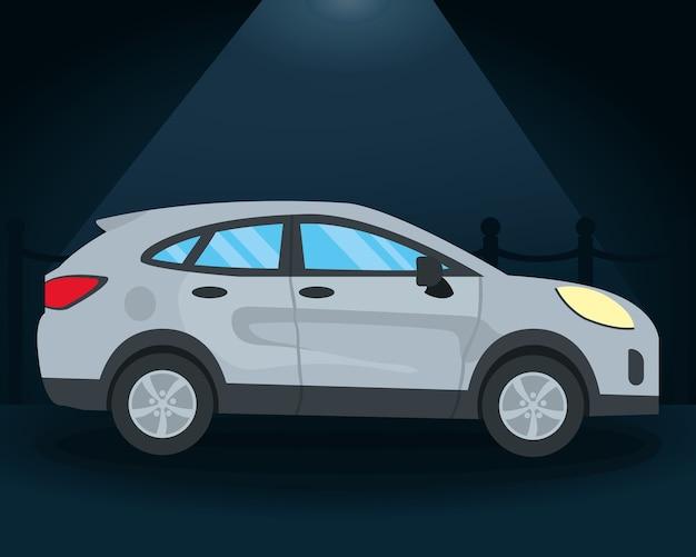 青い背景、カラフルなデザインの上の灰色のsuv車のアイコン