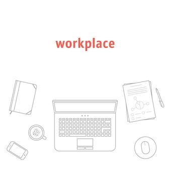 Серая тонкая линия на рабочем месте. концепция заголовка веб-страницы, поисковая оптимизация, вид на рабочий стол, пользовательский интерфейс сайта, маркетинг, финансовый отчет. изолированные на белом фоне. линейный стиль тенденции современный дизайн логотипа векторные иллюстрации