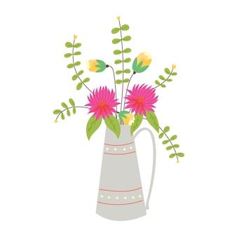花と灰色の花瓶