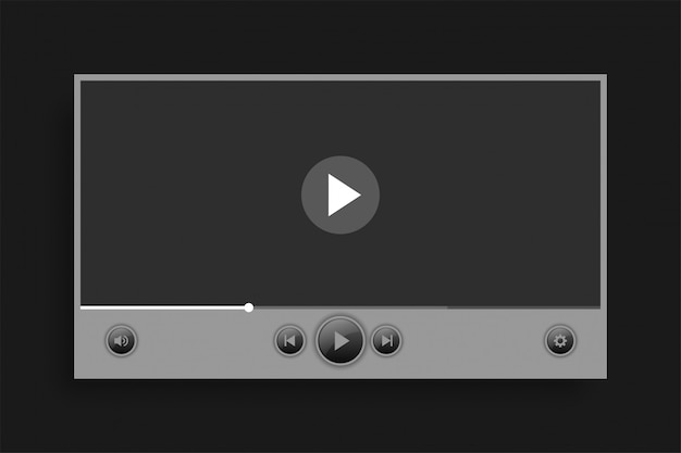 Gray video media player bar template