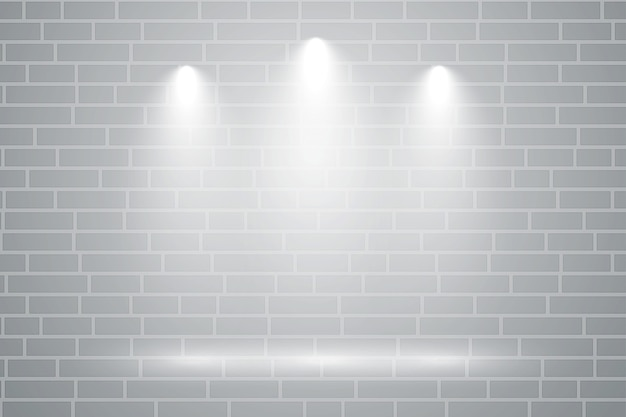 그것에 떨어지는 3 초점 빛으로 회색 벽