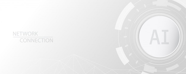 Gray and white abstract technology banner background