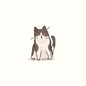 Elemento di doodle di gatto grigio e bianco