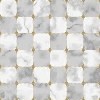 Gray and white marble seamless pattern with abstract geometric element repeat chessboard background