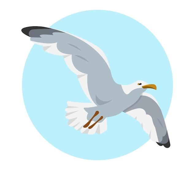 Gray and white seagull in sky flying gull sea bird cartoon icon