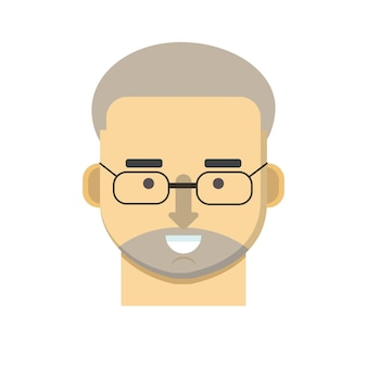 無精ひげと黒い眼鏡を持つ白髪の男
