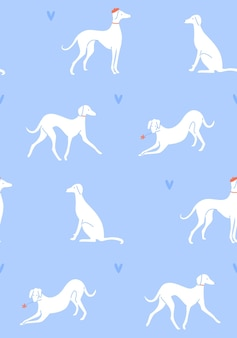 Grayhound in different poses dog silhouettes on blue romantic seamless pattern french style