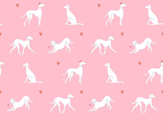 Grayhound in different poses dog silhouettes on pink background seamless pattern french style