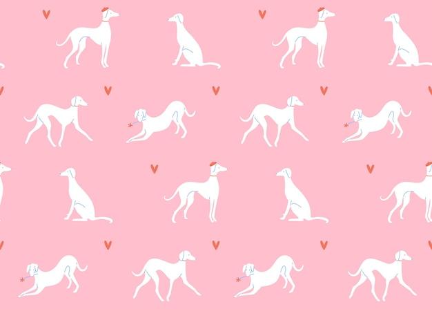 さまざまなポーズのグレイハウンドピンクの背景に犬のシルエットシームレスパターンフレンチスタイル