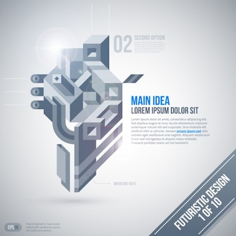 Grayscale 3D infographic with a futuristic style