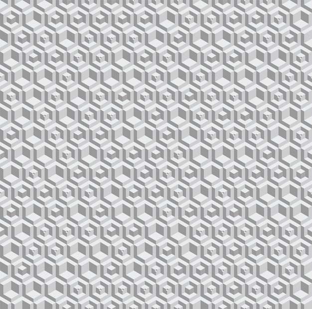 Grayscale hexagonal seamless pattern. volumetric hexagon elements placed randomly.