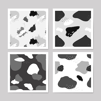 Grayscale memphis pattern design vector