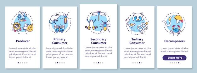 Выпас пищевой цепи на экране страницы мобильного приложения с концепциями. прохождение процесса биологической передачи энергии, 5 шагов, графические инструкции. векторный шаблон пользовательского интерфейса с цветными иллюстрациями rgb