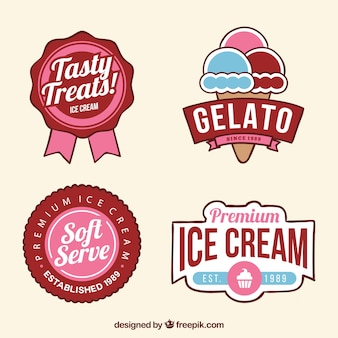 Grande assortimento di distintivi di gelato colorati in design piatto