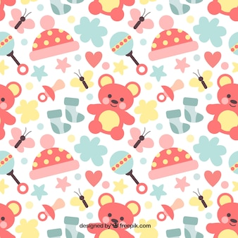 Great baby pattern with teddy bears and rattles