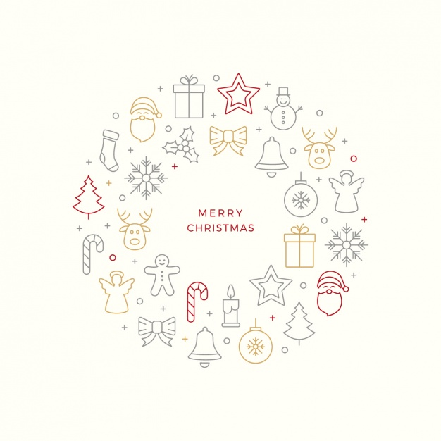 Great background of minimalist christmas objects