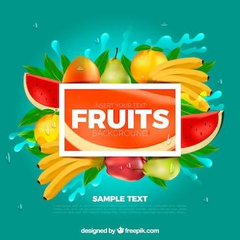 Большой фон реалистичных фруктов