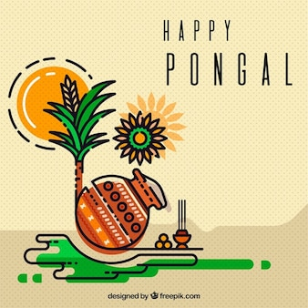 Great background of pongal elements in flat design