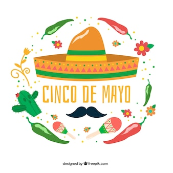 Great background with decorative mexican elements for cinco de mayo