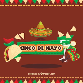 Great background with flat items for cinco de mayo