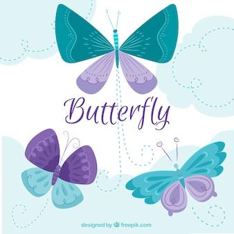 Большой фон с зелеными и фиолетовыми бабочками в плоской конструкции