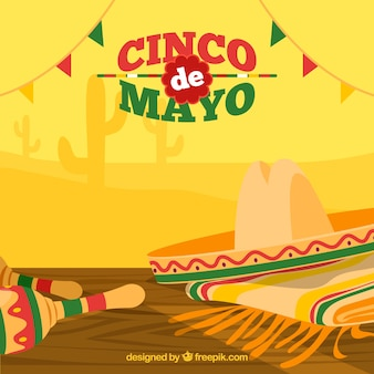 Great background with hat and maracas for cinco de mayo