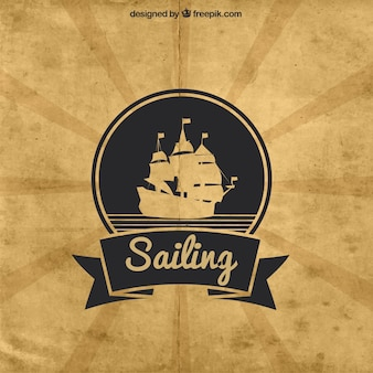 Great background with ship in vintage style