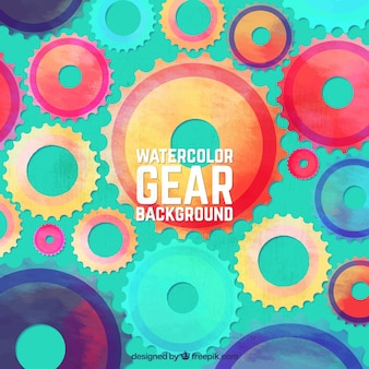 Great background with watercolor gears