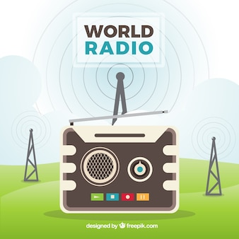 Great background for world radio day with antennas