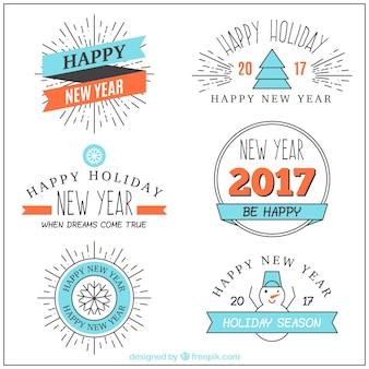 新しい年のための青の要素を持つ素晴らしいバッジ