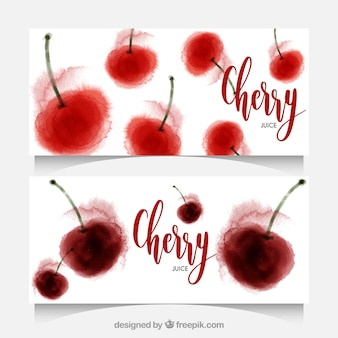 Great banners of watercolor cherries