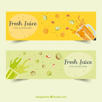 Great banners with fruits and splashes