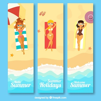 Great banners with women sunbathing