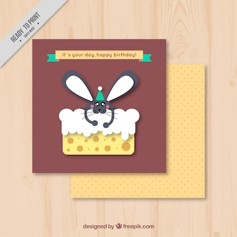 Great birthday greeting card of mouse eating cake