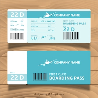 Great blue boarding pass template