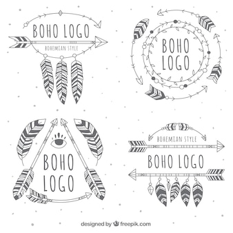 Большие boho логотипы с разнообразием конструкций