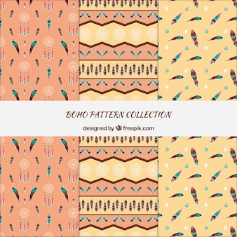 Great boho patterns with dreamcatchers and feathers