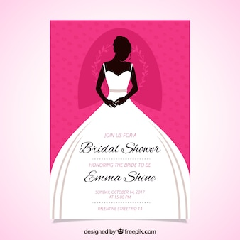 Great bridal shower invitation with bride wearing the wedding dress