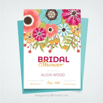 Great bridal shower invitation with colorful flowers in flat design