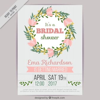 Great bridal shower invitation with floral wreath