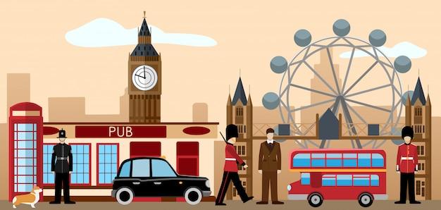 イギリスとロンドンのアイコンセット。