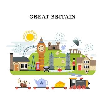 영국과 런던 벡터 여행 컨셉