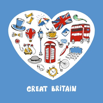 Great britain colored doodles collection