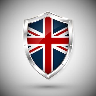 반짝이 금속 방패에 영국 국기입니다. 흰색 배경에 대해 방패에 플래그의 컬렉션입니다. 추상 고립 된 개체입니다.