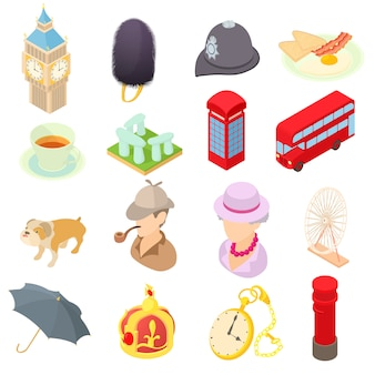 Great britain icons set in isometric 3d style