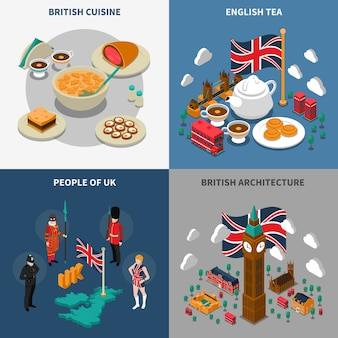 Great britain touristic isometric 2x2 icons set