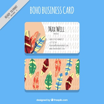 Great business card with colored feathers