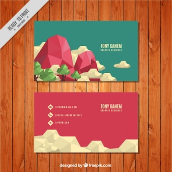 Great business card with geometric landscape