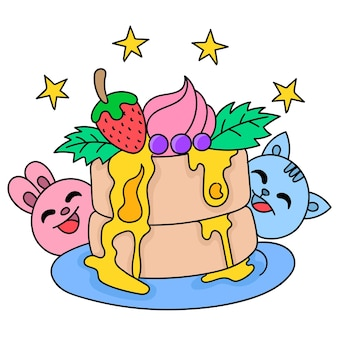 たくさんのトッピング、落書きアイコン画像で素晴らしいケーキの誕生日のお祝い。漫画caharacterかわいい落書きドロー